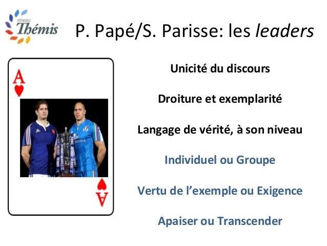 P. Papé/S. Parisse: les leaders Unicité du discours Droiture et exemplarité Langage de vérité, à son niveau Individuel ou ...