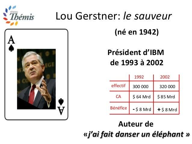 Lou Gerstner: le sauveur (né en 1942) Président d'IBM de 1993 à 2002 Auteur de «j'ai fait danser un éléphant »j'ai fait da...