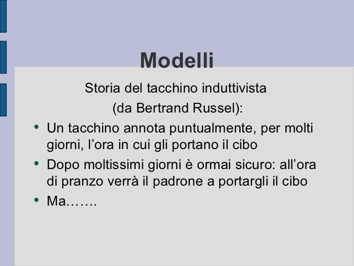 Modelli            Storia del tacchino induttivista                  (da Bertrand Russel): ●     Un tacchino annota puntua...