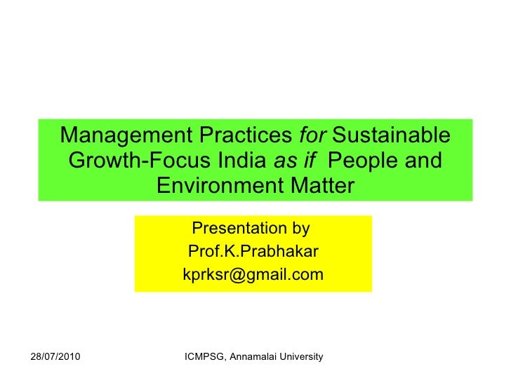 Management practices for sustainable growth