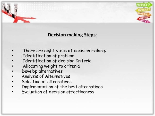 essay on the decision making process Mental health dissertation topics critical analysis essay, managerial decision making process 5 steps, xat 2015 preparation and coaching for decision making general.