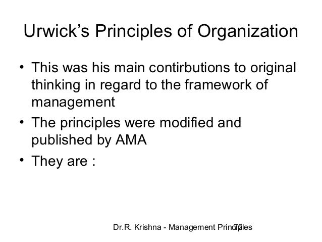 Lyndall Urwicks 10 Principles To Management Case Study Solution & Analysis