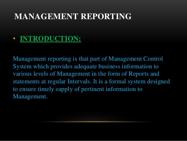 Reporting to management meaning