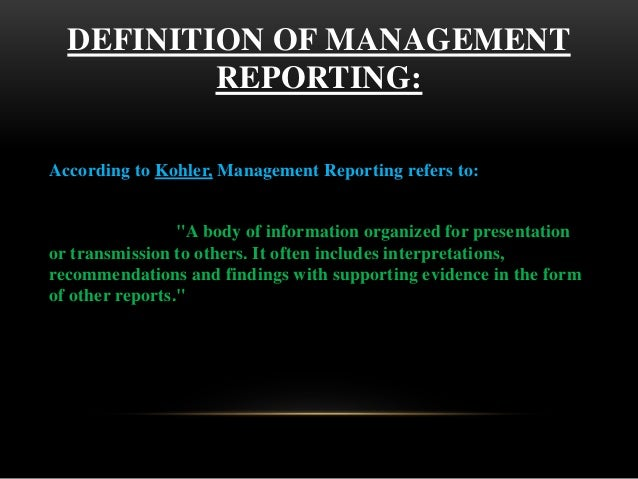 Management reporting meaning
