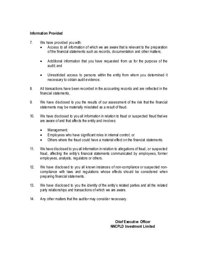 Management representation letter sample public limited listed compani…