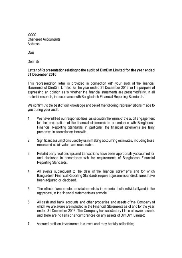 Management representation letter sample public limited listed compani…