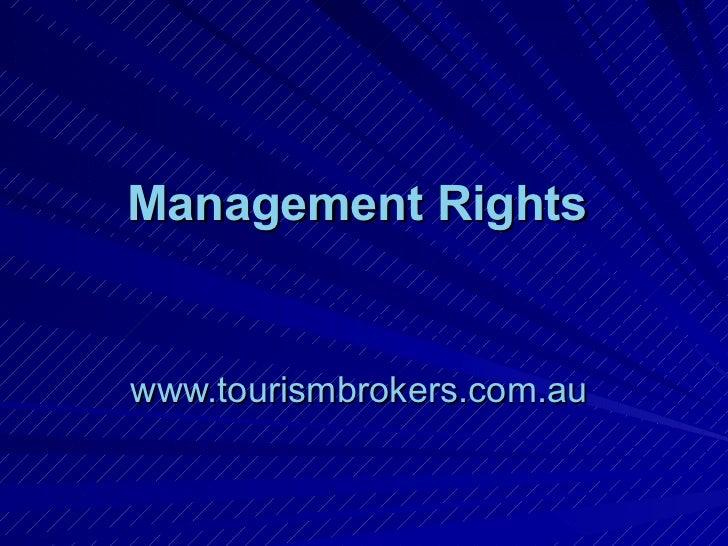 Management Rights   www.tourismbrokers.com.au