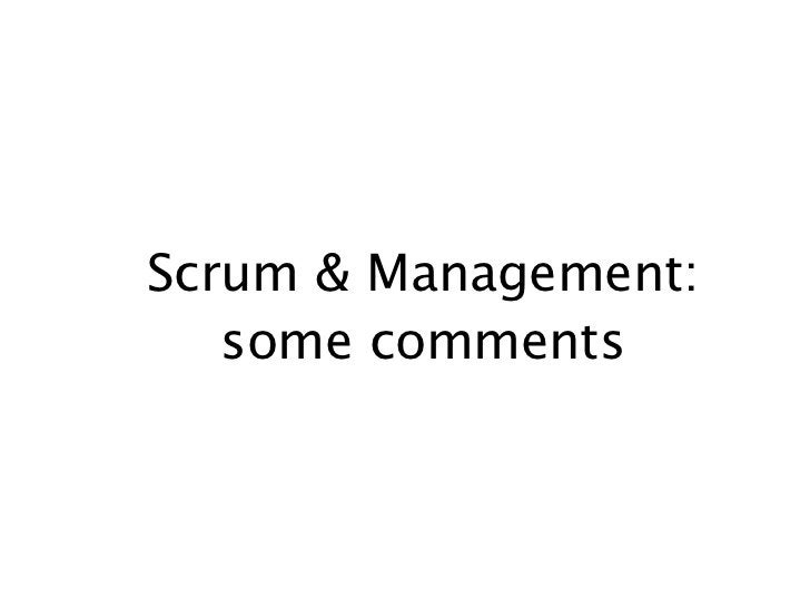 Scrum & Management:   some comments