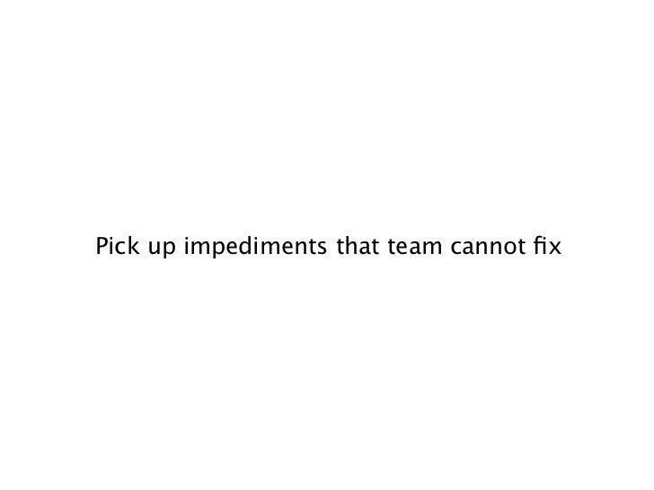 Pick up impediments that team cannot fix