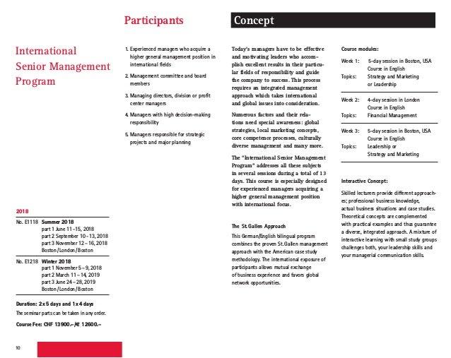 Seminars in English, St. Gallen International Business School