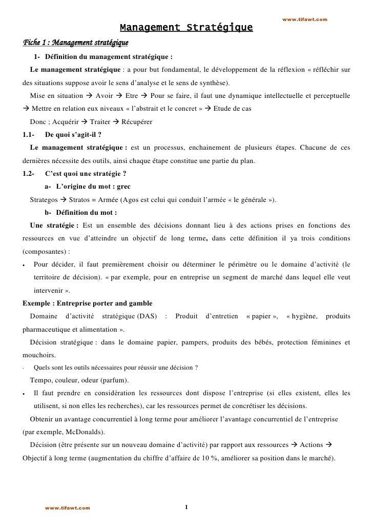 www.tifawt.com                                     Management StratégiqueFiche 1 : Management stratégique     1- Définitio...