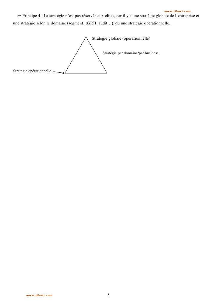 www.tifawt.com   Principe 4 : La stratégie n'est pas réservée aux élites, car il y a une stratégie globale de l'entrepris...