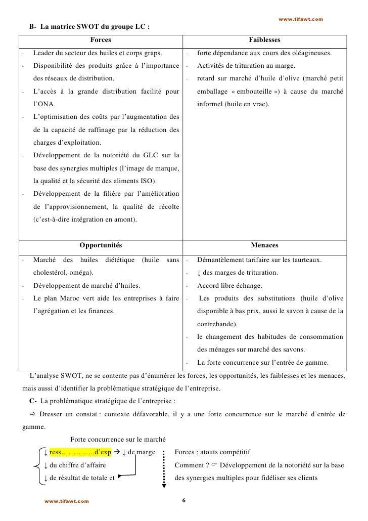 www.tifawt.com    B- La matrice SWOT du groupe LC :                          Forces                                       ...