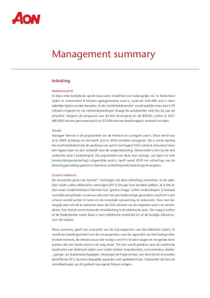 Management summary risicoanalyse elektrisch rijden