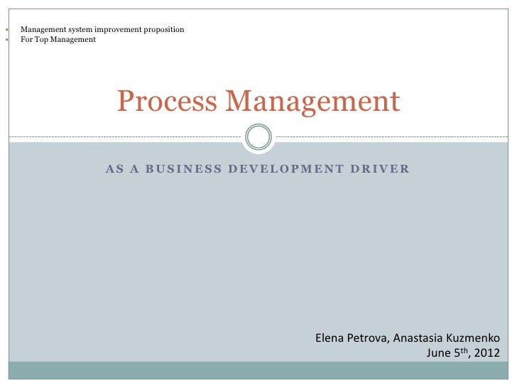    Management system improvement proposition   For Top Management                            Process Management         ...