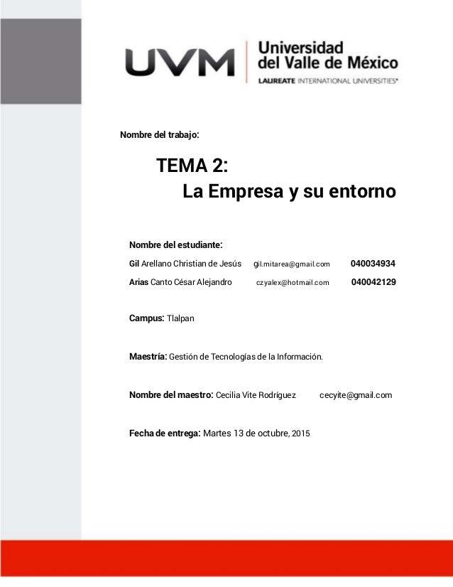 """""""Tema 2"""" Management Tema 2: La Empresa y su entorno Nombre del trabajo: Nombre del estudiante: Gil Arellano Christian de J..."""