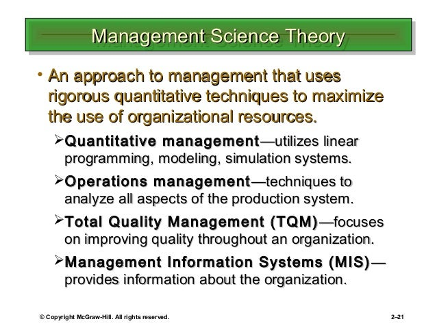 Management science, theory and practice. Definition of management.