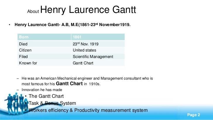 About   Henry Laurence Gantt•   Henry Laurence Gantt- A.B, M.E(1861-23rd November1919.      Born                        18...