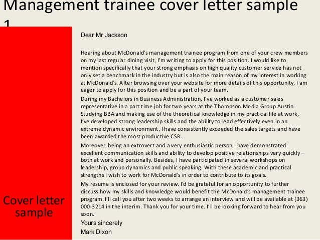 Management Trainee Cover Letter Sample ...