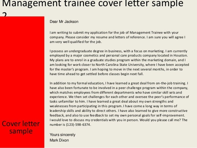 ... Management Trainee Cover Letter ...
