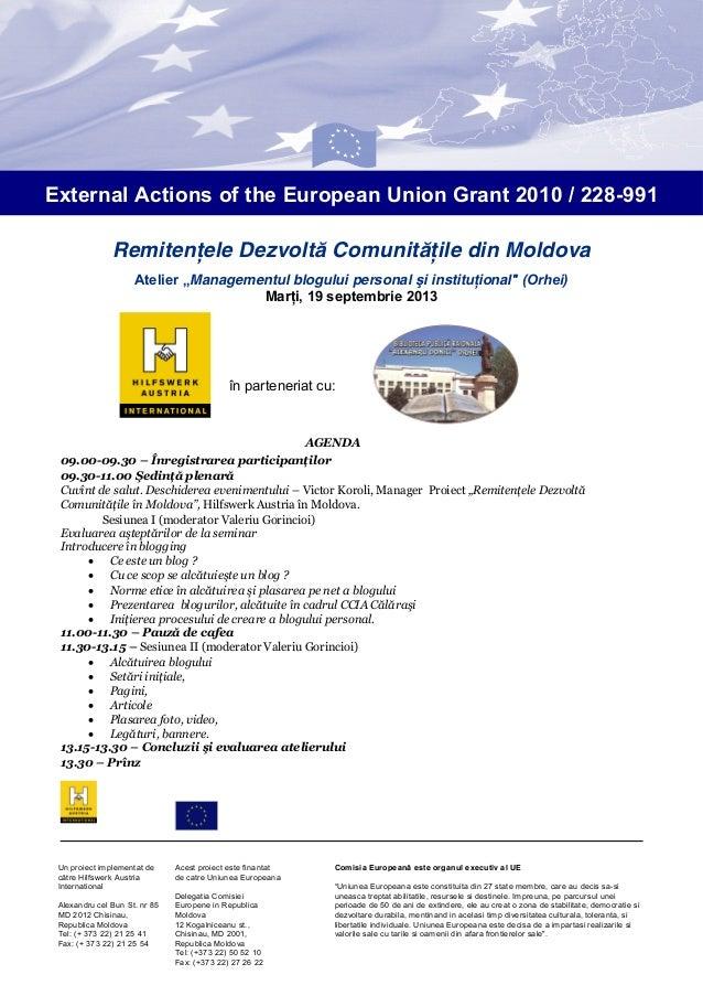"""Remitenţele Dezvoltă Comunităţile din Moldova Atelier """"Managementul blogului personal şi instituţional"""" (Orhei) Marţi, 19 ..."""