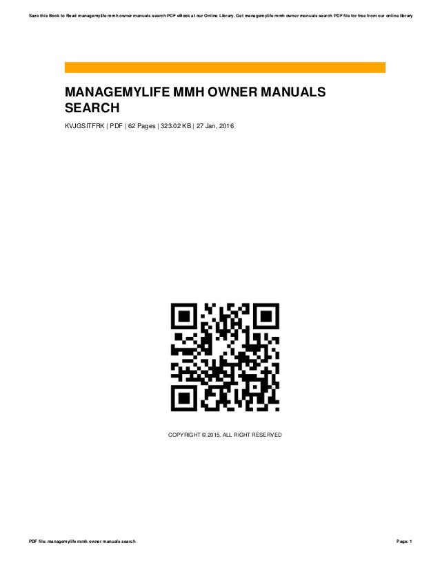 managemylife mmh owner manuals search rh slideshare net I Love My Owner Comments manage my life owner's manual