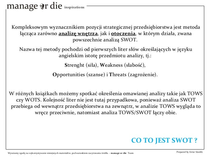Analiza SWOT - Manage or Die Inspirations