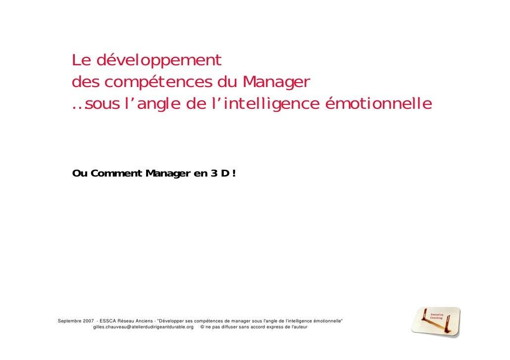 Le développement      des compétences du Manager      …sous l'            l'angle d l'i t lli                 l de l'intel...