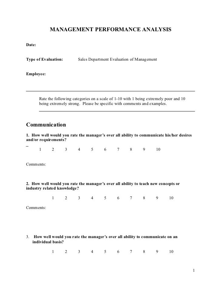 MANAGEMENT PERFORMANCE ANALYSIS Date: Type Of Evaluation: Sales Department  Evaluation Of Management ...  Feedback Forms Template