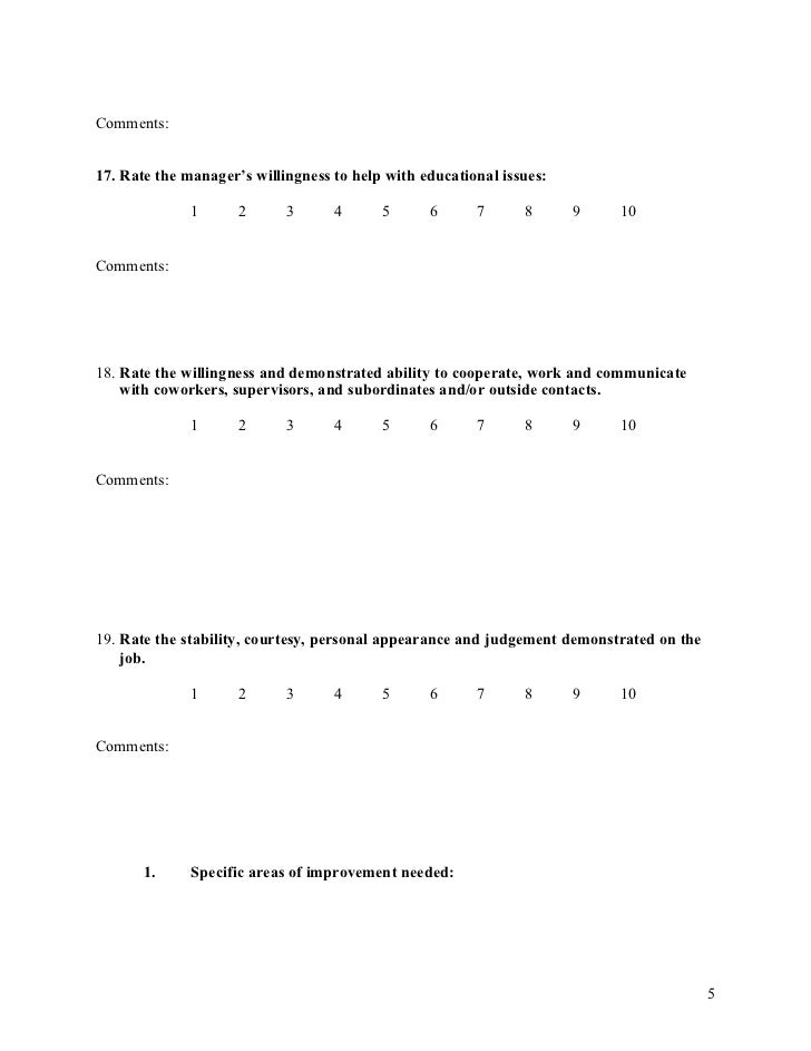 Manager Evaluation Form