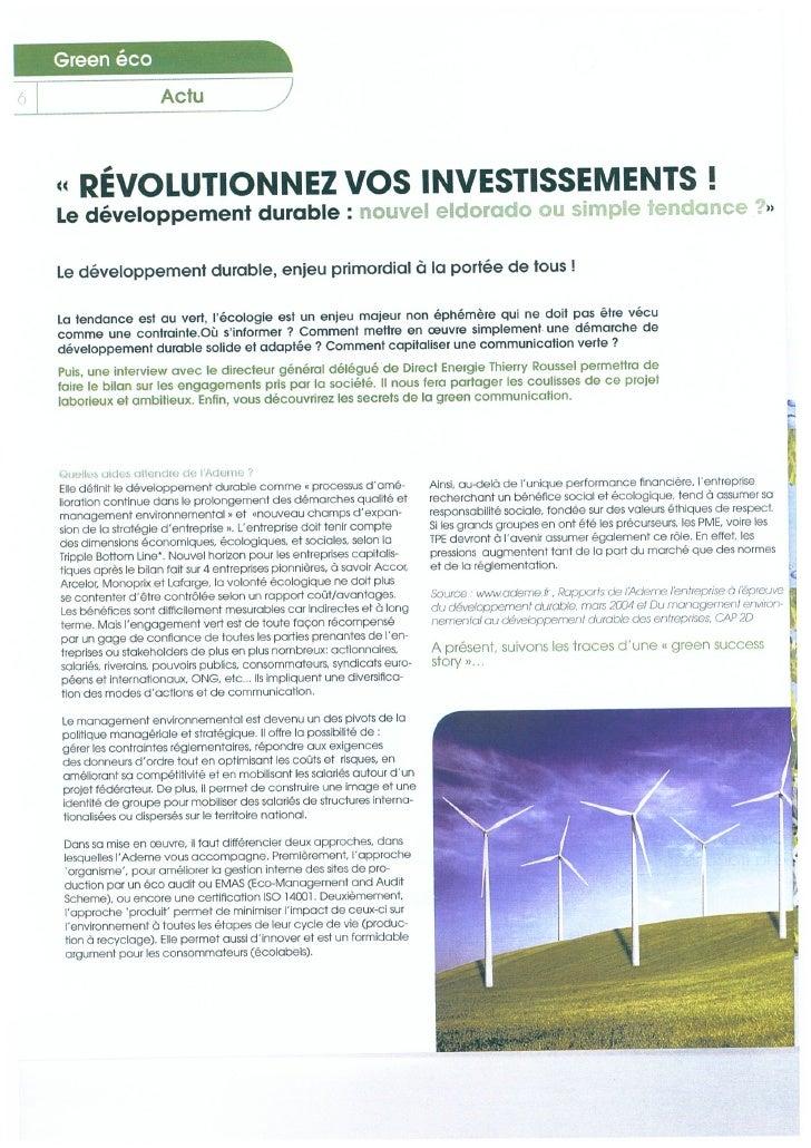 Rubrique Green Eco Manager Février 2011