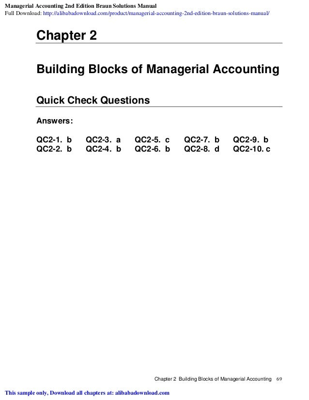 Managerial Accounting 2nd Edition Braun Solutions Manual