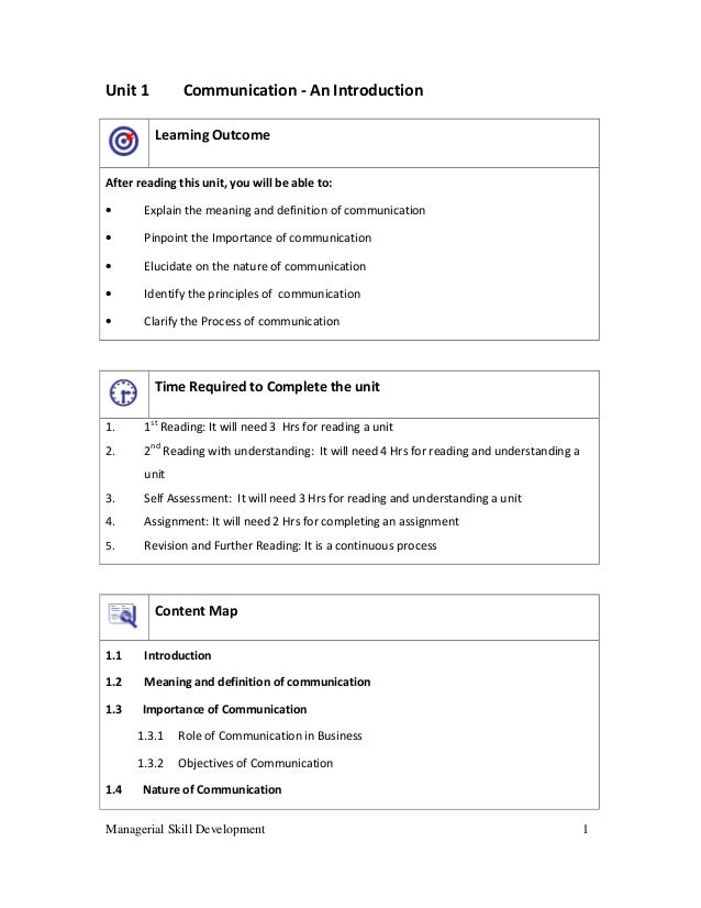 Managerial Skill Development 1 Unit 1 Communication - An Introduction Learning Outcome After reading this unit, you will b...