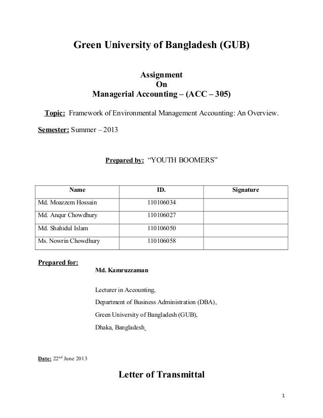 managerial accounting assignment green university of gub assignment on managerial accounting acc 305