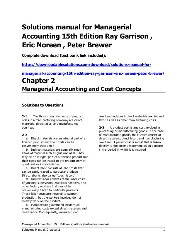 managerial accounting 15th edition garrison solutions manual test b rh slideshare net solution manual managerial accounting hansen mowen 5th edition solution manual managerial accounting hansen mowen ch 12
