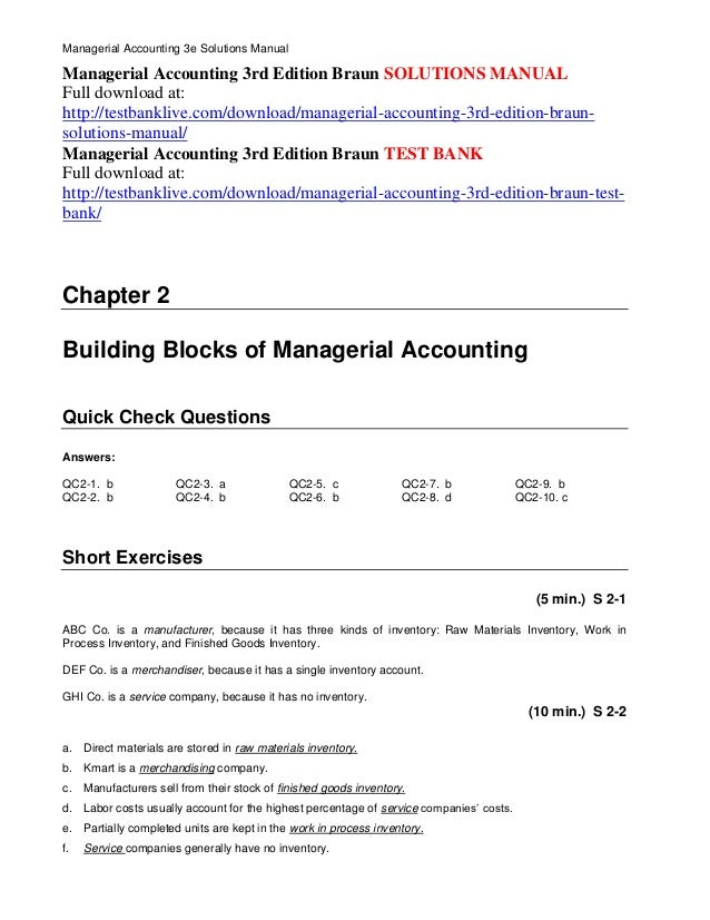 managerial accounting 3rd edition braun solutions manual rh slideshare net Managerial Accounting Formulas Cheat Sheet Managerial Accounting Final Exam Cheat Sheet