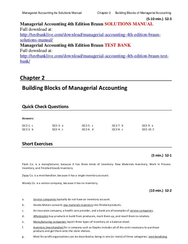Managerial accounting 4th edition braun solutions manual chapter 2 building blocks of managerial accountingmanagerial accounting 4e solutions manual 5 10 min fandeluxe Images