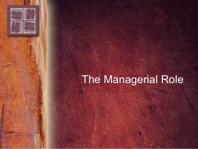 The Managerial Role