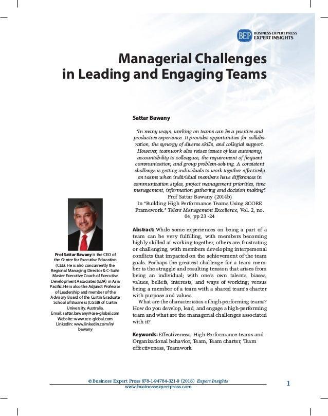11©Business Expert Press 978-1-94784-321-9 (2018) Expert Insights www.businessexpertpress.com Managerial Challenges inLe...