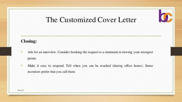 asking for an interview in a cover letter