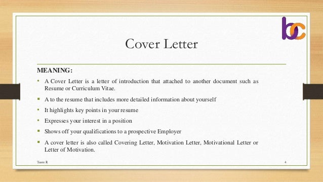what is meaning of cover letter