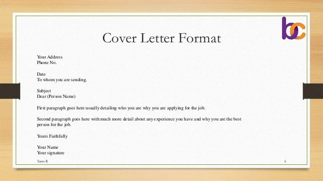 Cover Letter Format ...