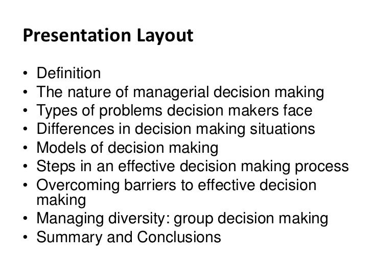 nature of managerial decision making