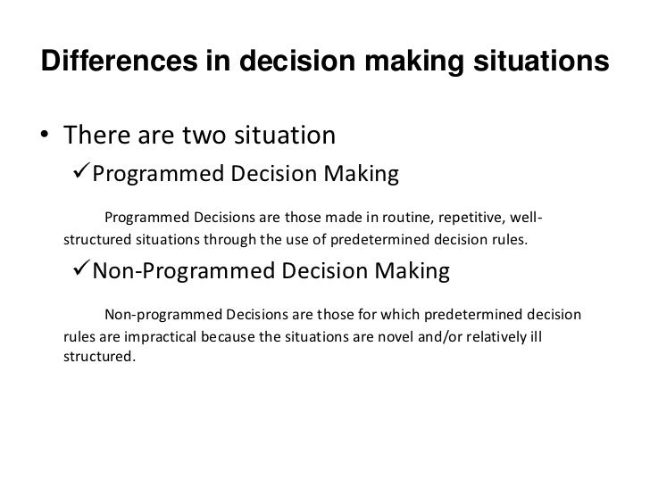 non routine decision making Routine decision making is a system or process used to make decisions that are  consistent or lacking in involvement decisions that people make on a daily.