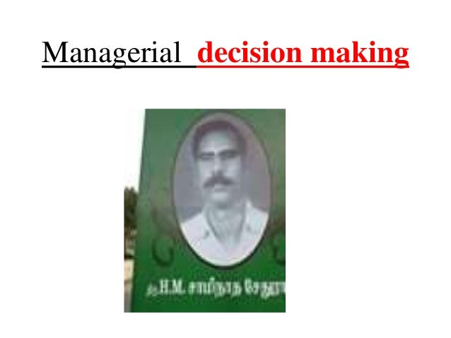 economics and managerial decision making Description: managerial and decision economics is an international journal of research and progress in management economics the journal publishes articles applying economic reasoning to managerial decision making.