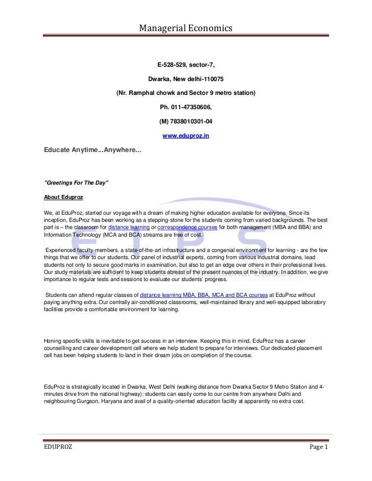 Managerial Economics                                               E-528-529, sector-7,                                   ...