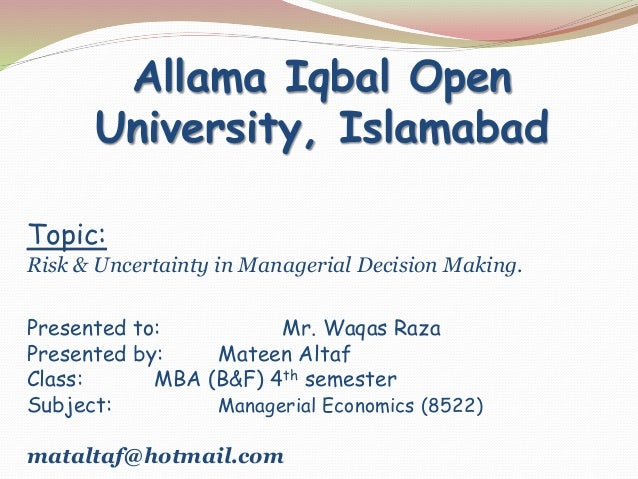application of managerial economics in decision making Managerial economics and economics managerial economics has been described as economics applied to decision making the short and the long runs microeconomics has been defined as that branch of economics where the unit of study is an individual or a firm on the other hand.