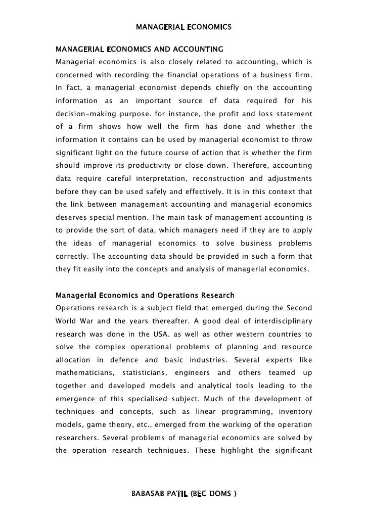 MANAGERIAL ECONOMICSMANAGERIAL ECONOMICS AND ACCOUNTINGManagerial economics is also closely related to accounting, which i...