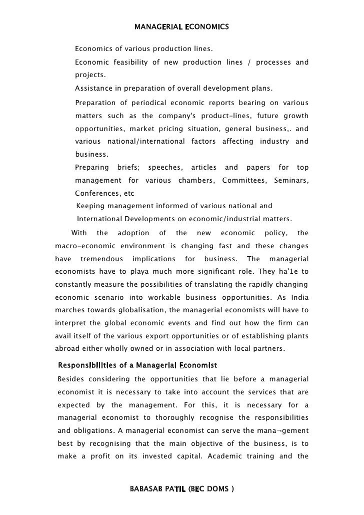 MANAGERIAL ECONOMICS       Economics of various production lines.       Economic feasibility of new production lines / pro...