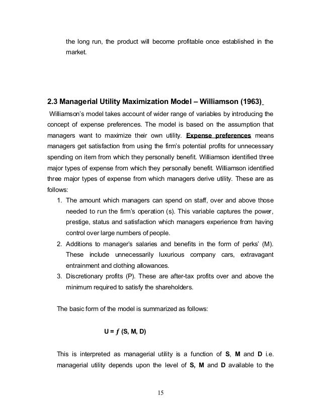 Williamson's Utility Maximisation